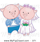 Swine Clipart of a Happy Pink Pig Bride and Groom Getting Married by BNP Design Studio