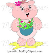 Swine Clipart of a Happy Pink Pig Carrying a Basket of Red and Purple Flowers or a Bowl of Salad by Bpearth