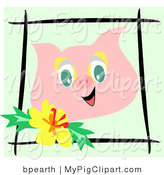 Swine Clipart of a Happy Pink Pig Face Bordered by Black Sticks and a Yellow Hibiscus Flower by Bpearth