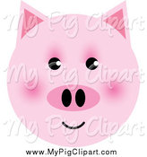 Swine Clipart of a Happy Pink Pig Face by Lal Perera