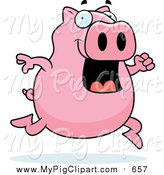 February 13th, 2016: Swine Clipart of a Happy Pink Pig Jumping and Running by Cory Thoman