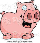 Swine Clipart of a Happy Pink Pig Sitting by Cory Thoman
