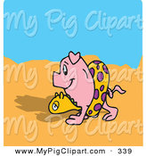 Swine Clipart of a Happy Pink Pig Strolling on a Beach by Dennis Holmes Designs