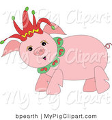 Swine Clipart of a Happy Pink Pig Wearing a Red Christmas Jester Hat by