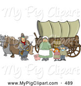 Swine Clipart of a Happy Pioneer Family and Pig in Front of Two Horses Pulling a Covered Wagon Along the Oregon Trai by Djart