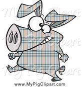 Swine Clipart of a Happy Plaid Pig Walking by Toonaday