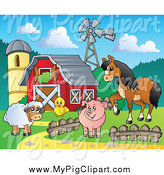 Swine Clipart of a Happy Sheep Chicken Pig and Horse by a Red Barn Silo and Windmill by Visekart