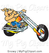 Swine Clipart of a Happy Shirtless Pig in Sunglasses, Riding an Orange Chopper Right by Snowy