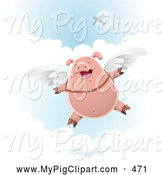 Swine Clipart of a Happy Skydiving Pig with Wings Strapped to His Back by Qiun