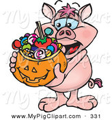 Swine Clipart of a Happy Trick or Treating Pig Holding a Pumpkin Basket Full of Halloween Candy by Dennis Holmes Designs