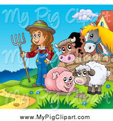 Swine Clipart of a Happy White Farmer Girl with a Muddy Pig, Sheep and Farmer by a Fence with a Cow and Horse by Visekart