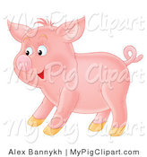 Swine Clipart of a Happy Young Pink Pig with a Curly Tail, Standing in Profile by Alex Bannykh