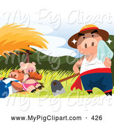 Swine Clipart of a Hard Working Sweaty Pig by Napping Pigs by Mayawizard101