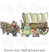 Swine Clipart of a Historical Family of Pioneers Standing with Their Pig in Front of Two Horses and Traveling in a Covered Wagon Along the Oregon Trail by Djart