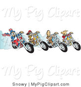 Swine Clipart of a Hog, Two Biker Dudes and Uncle Sam Racing Choppers on White by Snowy