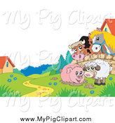 Swine Clipart of a Horse and Cow Looking over a Fence at a Pig in Mud and Sheep by Visekart