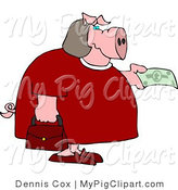 Swine Clipart of a Human-like Fat Female Pig Holding out a Dollar Bill by Djart