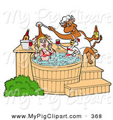 April 18th, 2013: Swine Clipart of a Hungry Chef Bull Pouring Bbq Sauce on a Female Pig and Chicken in a Hot Tub by LaffToon