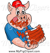 Swine Clipart of a Hungry Pig Wearing a Hat and Eating Messy Ribs by LaffToon