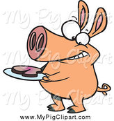 Swine Clipart of a Hungry Pig with Meat on a Plate by Toonaday