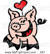 Swine Clipart of a Infatuated Pig with a Love Heart by Zooco