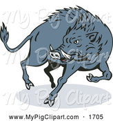 Swine Clipart of a Jumping Angry Wild Boar by Patrimonio