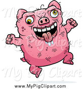 Swine Clipart of a Jumping Drooling Ugly Pig by Cory Thoman