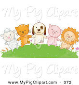 April 23rd, 2013: Swine Clipart of a Lamb, Cat, Dog, Pig and Lion Holding Hands on a Grassy Green Hill by BNP Design Studio
