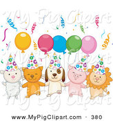 Swine Clipart of a Lamb, Kitten, Puppy, Piglet and Lion with Birthday Party Balloons and Confetti on White by BNP Design Studio