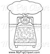 Swine Clipart of a Lineart Big Pig Dreaming and Sleeping in a Bed by Cory Thoman