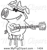 Swine Clipart of a Lineart Blues Pig Musician Playing a Guitar by Toonaday