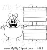 Swine Clipart of a Lineart Chubby Pig with Wooden Signs by Cory Thoman