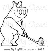 Swine Clipart of a Lineart Golfing Pig Holding the Club Against the Ball on the Tee by Cory Thoman