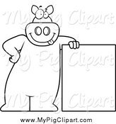 Swine Clipart of a Lineart Goofy Pig Leaning on a Sign by Cory Thoman
