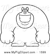 Swine Clipart of a Lineart Happy Buff Pig Smiling by Cory Thoman