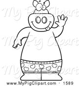 Swine Clipart of a Lineart Happy Pig Waving and Wearing Boxers by Cory Thoman