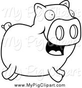Swine Clipart of a Lineart Happy Piggy Running by Cory Thoman