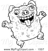 June 5th, 2016: Swine Clipart of a Lineart Jumping Ugly Pig by Cory Thoman