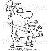 Swine Clipart of a Lineart Male Farmer Holding His Pig by Toonaday