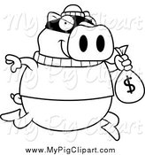 Swine Clipart of a Lineart Pig Robbing a Bank by Cory Thoman