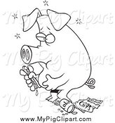 Swine Clipart of a Lineart Stuffed Pig Eating Junk Food by Toonaday
