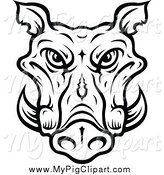 Swine Clipart of a Lineart Tusked Boar Head by Vector Tradition SM
