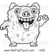 Swine Clipart of a Lineart Waving Ugly Pig by Cory Thoman
