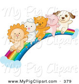 May 3rd, 2013: Swine Clipart of a Lion, Lamb, Kitten, Piglet and Puppy Sliding down a Rainbow on White by BNP Design Studio