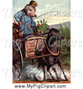 Swine Clipart of a Little Pig Going to the Market by Prawny Vintage