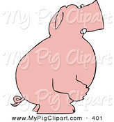 May 28th, 2013: Swine Clipart of a Mad Pink Pig Standing and Facing to the Right on White by Djart
