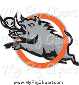 Swine Clipart of a Mad Razorback Boar Leaping Through an Orange Ring by Patrimonio