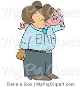 Swine Clipart of a Male Farmer Carrying a Chubby Pet Pig on His Shoulder by Djart