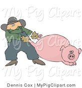 Swine Clipart of a Male Farmer Pulling a Fat Pink Pig by the Hind Legs, Trying to Get It to Move by Djart