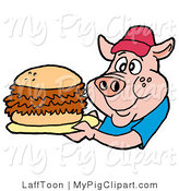Swine Clipart of a Male Fast Food Pig in a Red Hat and Blue Shirt, Holding a Giant Pulled Pork Sandwich by LaffToon